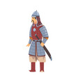 mongol nomad warrior central asian character in vector image vector image