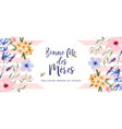 mothers day watercolor spring flower french card vector image
