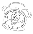 outlined cartoon alarm clock vector image vector image