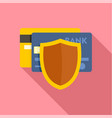 protected credit card icon flat style vector image vector image