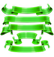realistic green glossy ribbons with a stripe vector image vector image