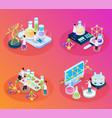 scientific tests isometric set vector image vector image