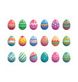 set easter eggs flat design on white background vector image