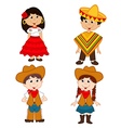 set of isolated children of Mexican and cowboy vector image vector image