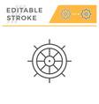ship steering wheel editable stroke line icon vector image