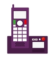silhouette office telephone with wired vector image vector image