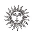 sun with face stylized as engraving hand drawn vector image