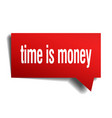 time is money red 3d speech bubble vector image vector image