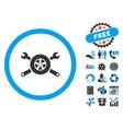 Tire Service Flat Icon with Bonus vector image vector image