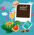 Watermelon Fruit and Summer Objects with Frame vector image vector image