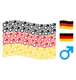 waving germany flag pattern of mars symbol icons vector image