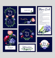 wedding cards invitation menu banners template vector image vector image