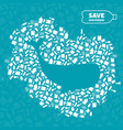 whale stop ocean plastic pollution concept vector image vector image