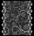 white lace seamless pattern with roses on black vector image vector image
