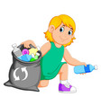 woman collecting rubbish vector image