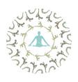 yoga mandala- unique yoga silhouette mandala vector image vector image