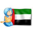 A girl in front of the United Arab Emirates flag vector image vector image
