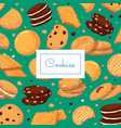 background with cartoon cookies and place vector image