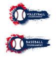 baseball championship tournament grunge banner vector image