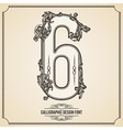 Calligraphic font Number 6 vector image
