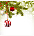 christmas greeting card with pine branches vector image vector image