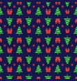 christmas pattern with christmas tree gifts and vector image vector image