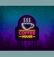 coffee neon signboard logo glowing emblem vector image