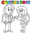 coloring book with two students vector image