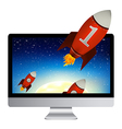 Computer With Red Rockets vector image vector image