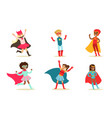 cute boys and girls in superhero costumes set vector image