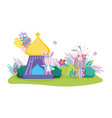 cute circus rabbit with layer and tent vector image vector image