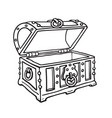 empty pirate treasure chest open wooden trunk vector image
