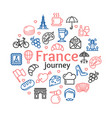 France travel round design template line icon