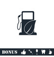 gas station with leaves icon flat vector image vector image