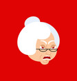 grandmother angry emoji avatar face grandma evil vector image