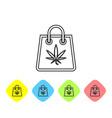 grey line shopping paper bag medical marijuana vector image vector image