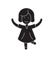 happy girl jumping black concept icon vector image