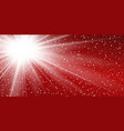 light ray flare isolated on red background shine vector image vector image