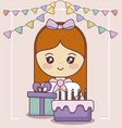 little girl with gift box and sweet cake vector image vector image