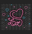 love symbol in neon light valentine day vector image vector image