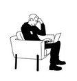 man sitting in a comfortable armchair vector image vector image