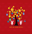 mid autumn festival rabbit playing with lanterns vector image vector image