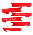 origami style red ribbon banners set vector image