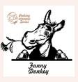 peeking funny donkey - funny donkey out vector image vector image