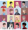 portraits of people of different nationalities vector image