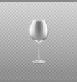 realistic empty wine glass isolated on transparent vector image