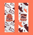 run more now set banners vector image vector image