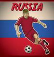 russia soccer player with flag background vector image vector image