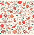 seamless pattern of various fruits vector image vector image