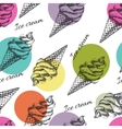 Seamless pattern with ice cream hand drawn
